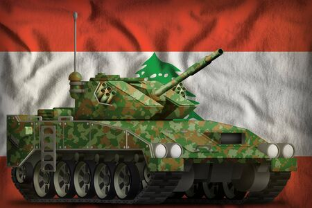 light tank apc with summer camouflage on the Lebanon flag background. 3d Illustration
