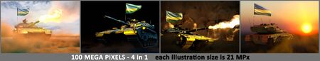 Rwanda army concept - 4 very high resolution pictures of tank with fictive design with Rwanda flag and free place for your text, military 3D Illustration Stok Fotoğraf