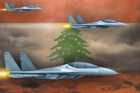 Lebanon air strike concept. Modern war airplanes attack on Lebanon flag background. 3d Illustration