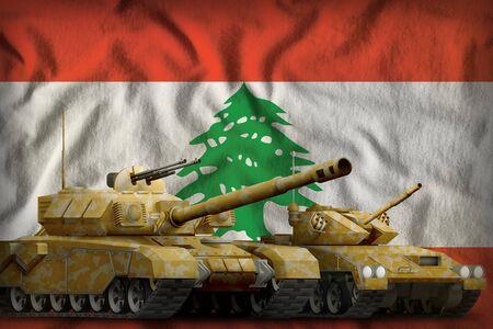 tanks with orange camouflage on the Lebanon flag background. Lebanon tank forces concept. 3d Illustration