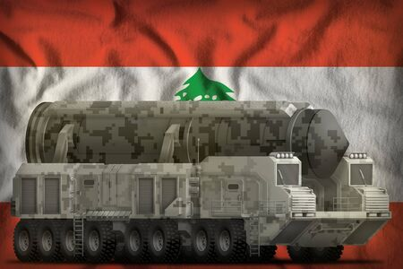 intercontinental ballistic missile with city camouflage on the Lebanon flag background. 3d Illustration Stok Fotoğraf