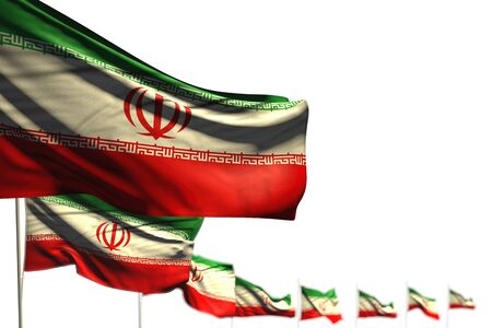 nice Iran isolated flags placed diagonal, illustration with bokeh and place for text - any feast flag 3d illustration  Stok Fotoğraf