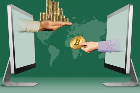 electronic concept, hands from computers. pile of coins and hand with bitcoin . 3d illustration