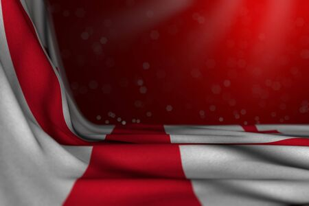 pretty holiday flag 3d illustration  - dark photo of Georgia flag lying in corner on red background with bokeh and empty space for content Stok Fotoğraf