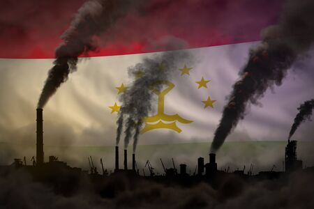 Global warming concept - dense smoke from industry pipes on Tajikistan flag background - industrial 3D illustration Stok Fotoğraf