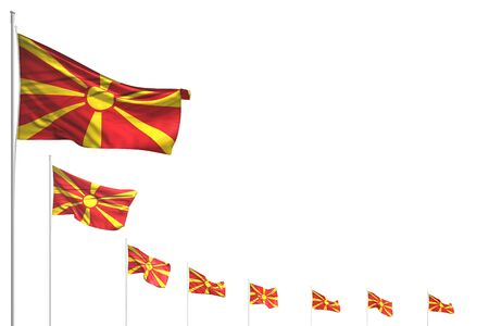 pretty many Macedonia flags placed diagonal isolated on white with space for text - any feast flag 3d illustration  Stok Fotoğraf