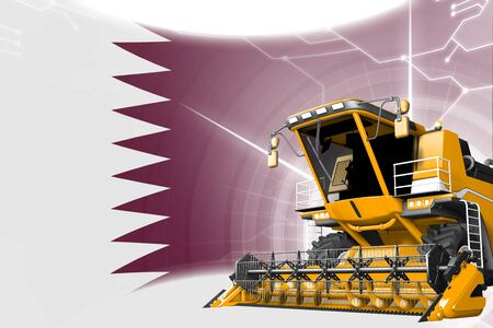 Agriculture innovation concept, yellow advanced wheat combine harvester on Qatar flag - digital industrial 3D illustration Stok Fotoğraf