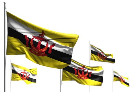 pretty celebration flag 3d illustration  - five flags of Brunei Darussalam are wave isolated on white - photo with soft focus Stok Fotoğraf