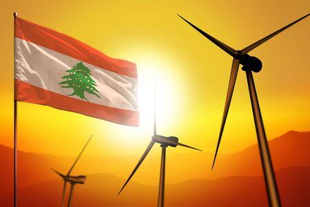 Lebanon wind energy, alternative energy environment concept with turbines and flag on sunset - alternative renewable energy - industrial illustration, 3D illustration
