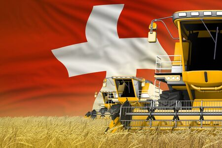 industrial 3D illustration of three yellow modern combine harvesters with Switzerland flag on farm field - close view, farming concept