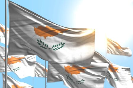 cute feast flag 3d illustration  - many Cyprus flags are waving against blue sky photo with bokeh Stok Fotoğraf