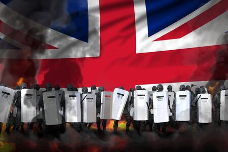United Kingdom (UK) protest stopping concept, police guards in heavy smoke and fire protecting state against demonstration - military 3D Illustration on flag background