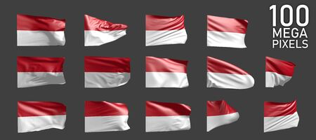 many different pictures of Monaco flag isolated on grey background - 3D illustration of object Stock fotó