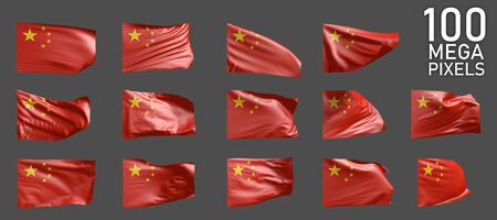a lot of different pictures of China flag isolated on grey background - 3D illustration of object