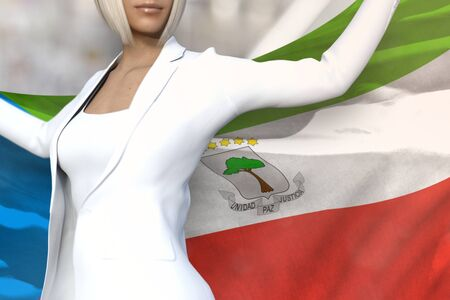 pretty business woman is holding Equatorial Guinea flag in her hands behind her on the office building background - flag concept 3d illustration