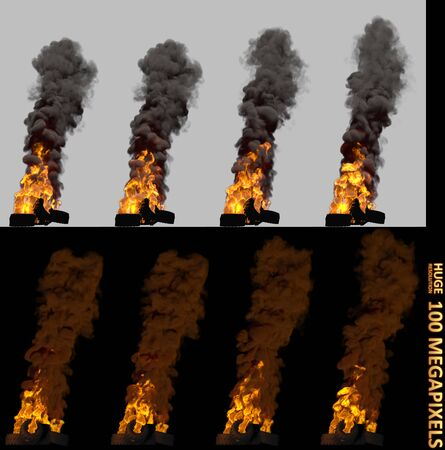 rebellion concept, high detail pile or barricade of burning car tires isolated - 3D illustration of objects