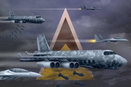 Saint Lucia bomb air strike concept. Modern Saint Lucia war airplanes bombing on flag background. 3d Illustration