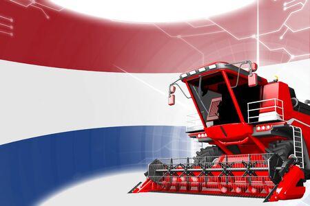 Agriculture innovation concept, red advanced rural combine harvester on Netherlands flag - digital industrial 3D illustration