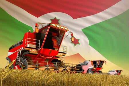 agricultural combine harvester working on farm field with Burundi flag background, food production concept - industrial 3D illustration