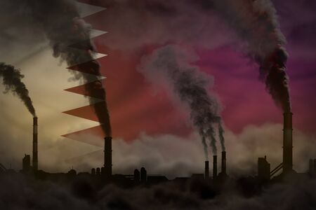 Dark pollution, fight against climate change concept - industrial 3D illustration of plant pipes heavy smoke on Qatar flag background Stok Fotoğraf