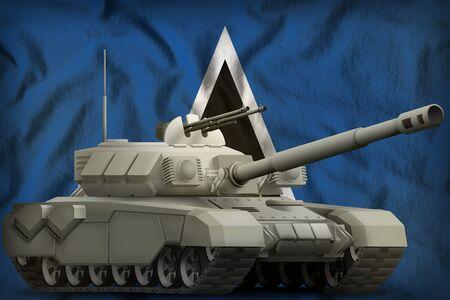 heavy tank on the Saint Lucia flag background. 3d Illustration