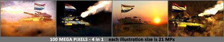 Netherlands army concept - 4 very high resolution illustrations of modern tank with fictional design with Netherlands flag, military 3D Illustration Stok Fotoğraf