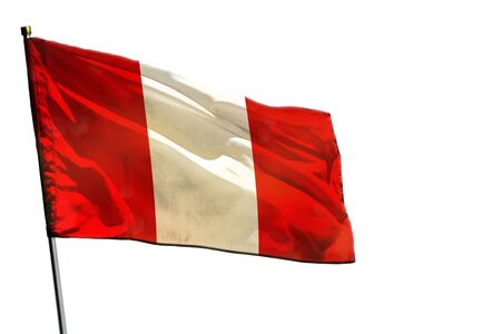 Fluttering Peru flag isolated on white background. Stok Fotoğraf
