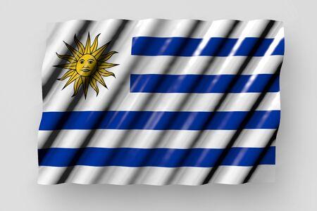 wonderful shining flag of Uruguay with big folds lying isolated on grey - any occasion flag 3d illustration Stok Fotoğraf