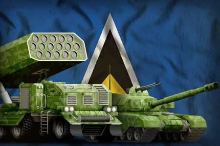 tank and rocket launcher with summer pixel camouflage on the Saint Lucia flag background. Saint Lucia heavy military armored vehicles concept. 3d Illustration