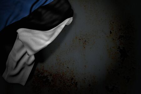 wonderful dark photo of Estonia flag with big folds on rusty metal with free space for your content - any feast flag 3d illustration
