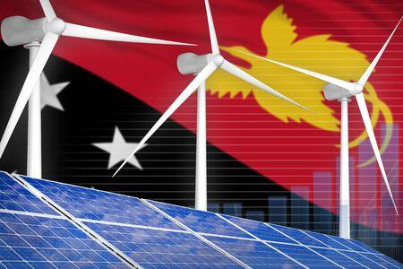 Papua New Guinea solar and wind energy digital graph concept  - renewable energy industrial illustration. 3D Illustration