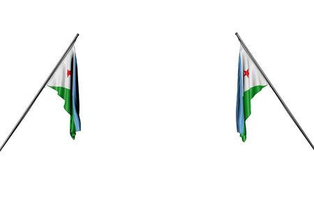 pretty two Djibouti flags hangs on in corner poles from two sides isolated on white - any celebration flag 3d illustration