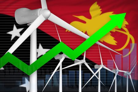 Papua New Guinea wind energy power rising chart, arrow up  - alternative energy industrial illustration. 3D Illustration