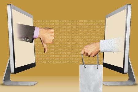 online concept, hands from displays. thumbs down, dislike and hand with shopping bag . 3d illustration