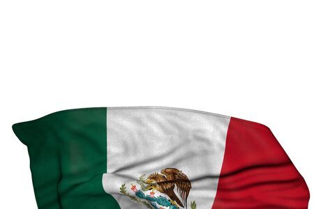 wonderful anthem day flag 3d illustration  - Mexico flag with large folds lie in the bottom isolated on white