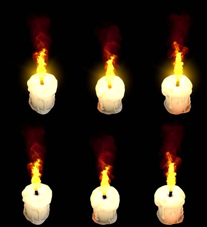 beautiful burning thick white paraffin candle isolated on black with and without highlight - halloween concept, 3D illustration of object Banco de Imagens