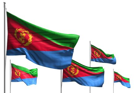cute celebration flag 3d illustration  - five flags of Eritrea are waving isolated on white Stok Fotoğraf