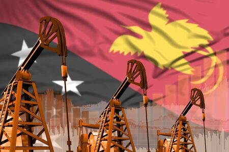 Papua New Guinea oil and petrol industry concept, industrial illustration on Papua New Guinea flag background. 3D Illustration Stok Fotoğraf