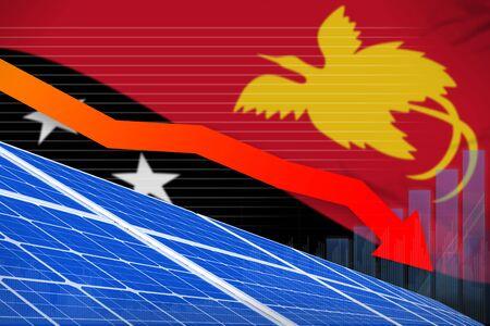 Papua New Guinea solar energy power lowering chart, arrow down  - alternative energy industrial illustration. 3D Illustration