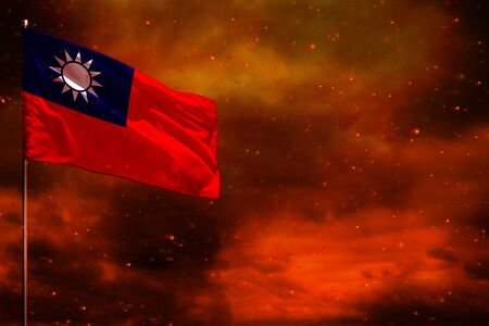 Fluttering Taiwan Province of China flag mockup with blank space for your data on crimson red sky with smoke pillars background. Taiwan Province of China problems concept. Stok Fotoğraf