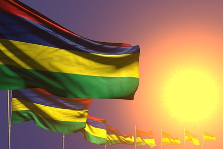 beautiful celebration flag 3d illustration  - many Mauritius flags placed diagonal on sunset with space for content Stok Fotoğraf