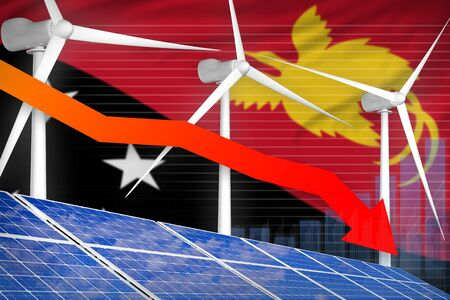 Papua New Guinea solar and wind energy lowering chart, arrow down  - modern energy industrial illustration. 3D Illustration Stok Fotoğraf