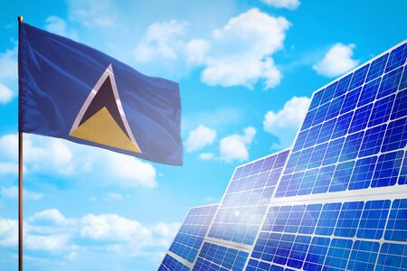 Saint Lucia alternative energy, solar energy concept with flag - symbol of fight with global warming - industrial illustration, 3D illustration