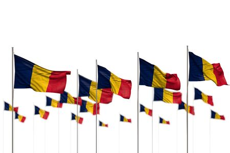 cute Chad isolated flags placed in row with bokeh and space for your content - any celebration flag 3d illustration