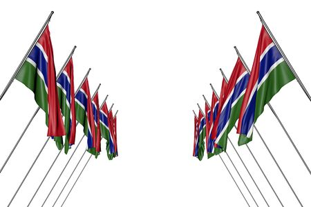 nice any feast flag 3d illustration  - many Gambia flags hangs on diagonal poles from left and right sides isolated on white