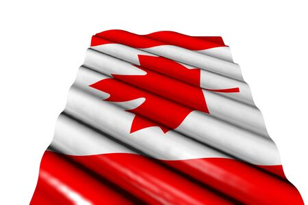 nice shining flag of Canada with big folds lay isolated on white, perspective view - any feast flag 3d illustration