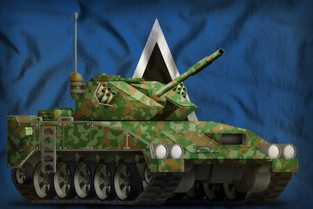 light tank apc with summer camouflage on the Saint Lucia flag background. 3d Illustration