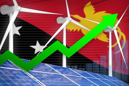Papua New Guinea solar and wind energy rising chart, arrow up  - modern energy industrial illustration. 3D Illustration
