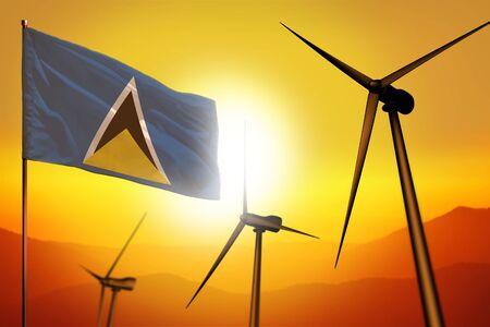 Saint Lucia wind energy, alternative energy environment concept with turbines and flag on sunset - alternative renewable energy - industrial illustration, 3D illustration