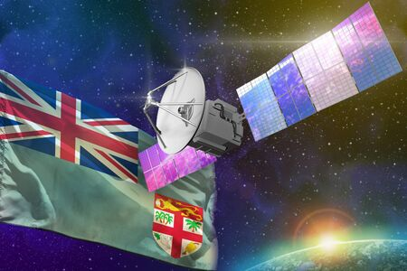Satellite with Fiji flag, space communications technology concept - 3D Illustration